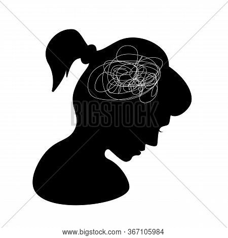 The Concept Of Depression, Loneliness, Frustration.monochrome Illustration On Mental Health Issues.a