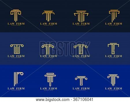 Set Of Law Firm Logo Design. Icon Law Firm Vector