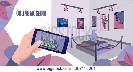 Online Museum Stock Vector Illustration. Online Museum Theme Banner. Campaign To The Gallery Remotel