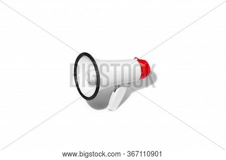 Red And White Megaphone Isolated On White Studio Background With Copyspace For Advertising. Bullhorn