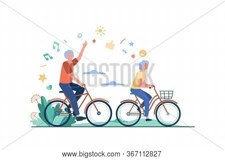 Senior Man And Woman Riding Bikes In City Park. Happy Cartoon Old Family Couple Enjoying Outdoor Act