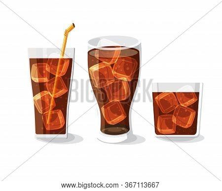 Soft Drink Bottle And Glass Set Vector Illustration