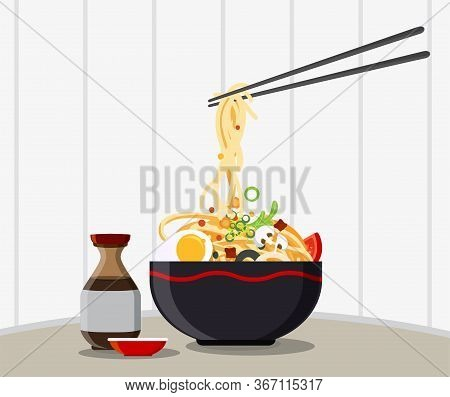 Traditional Chinese Soup With Noodles, Noodle Soup In Chinese Bowl Asian Food Vector Illustration