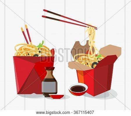 Chinese Food Take Away Box, Take Away Box Noodles , Vector Illustration