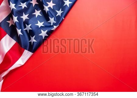 Vintage American Flag Isolated On Red Background With Copy Space For Text. Flag America Background B
