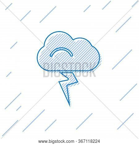 Blue Line Storm Icon Isolated On White Background. Cloud And Lightning Sign. Weather Icon Of Storm.