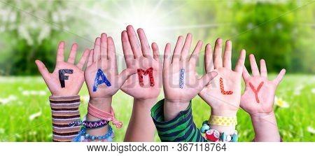 Children Hands Building Word Family, Grass Meadow