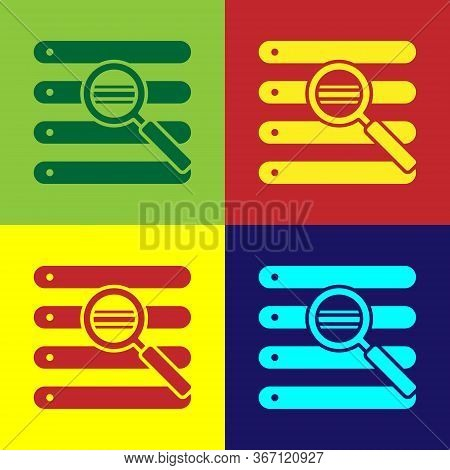 Pop Art Search In A Browser Window Icon Isolated On Color Background. Vector