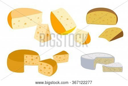 Set Of Cheeses. Collection Of Cartoon Cheeses. Dairy. Cheese Types. Modern Flat Style Vector Flat Il