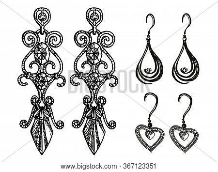 Women S Jewelry Earrings. Vintage Handmade Decorations. Antique Vintage Gold Fancy Articles Or Bijou