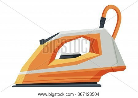 Orange Electric Steam Iron, Household Appliance, Ironing Clothes Device Vector Illustration