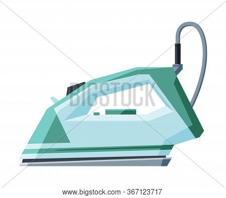 Electric Iron With Cable, Household Appliance, Ironing Clothes Device Vector Illustration