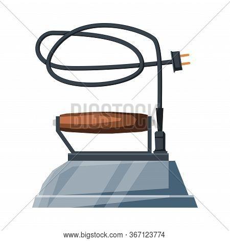Retro Steel Iron, Electric Household Appliance, Vintage Ironing Equipment Vector Illustration