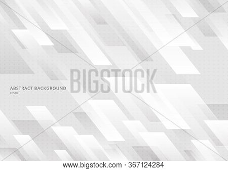 Abstract Modern Shape White And Gray Geometric Diagonal With Dots Pattern Background And Texture. Ve