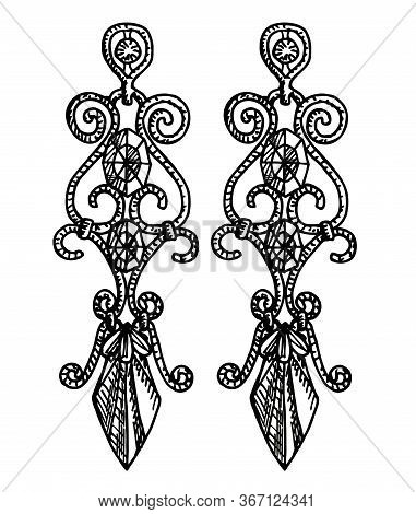 Hand Drawn Earrings. Stylish Jewelry, Vector Sketch Illustration. Long Earrings With Precious Stones