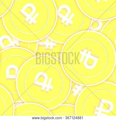 Russian Ruble Gold Coins Seamless Pattern. Captivating Scattered Yellow Rub Coins. Success Concept.