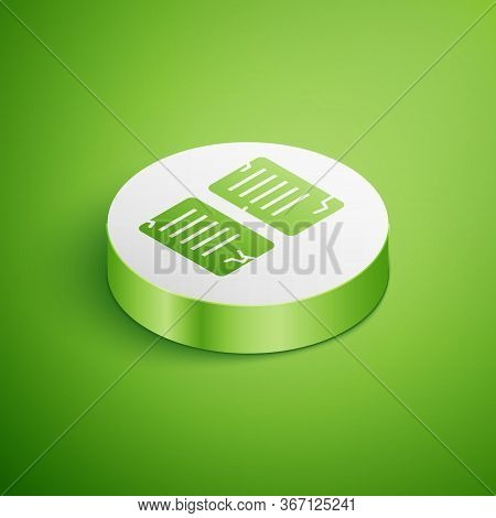 Isometric The Commandments Icon Isolated On Green Background. Gods Law Concept. White Circle Button.