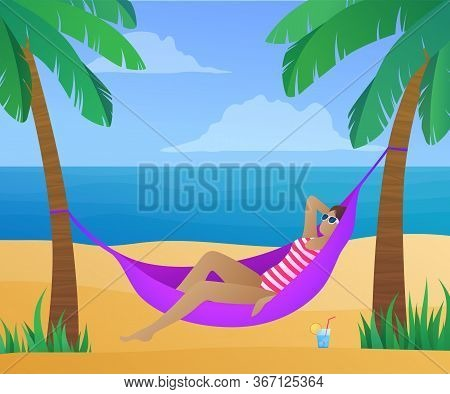 Summertime Exotic Beach Vacation Banner. Young Girl Sunbathing In Hammock On Tropical Beach At Sunny