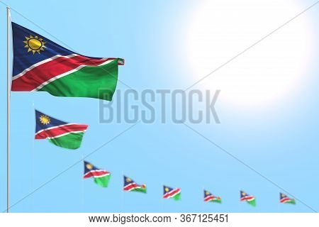 Nice Any Feast Flag 3d Illustration  - Many Namibia Flags Placed Diagonal With Soft Focus And Empty