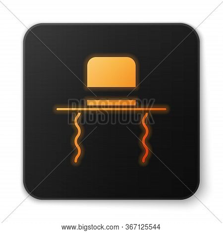 Orange Glowing Neon Orthodox Jewish Hat With Sidelocks Icon Isolated On White Background. Jewish Men