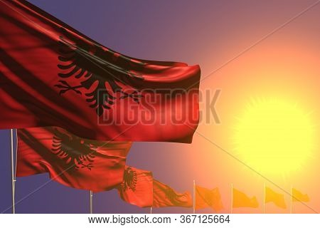 Cute Feast Flag 3d Illustration  - Many Albania Flags Placed Diagonal On Sunset With Place For Your