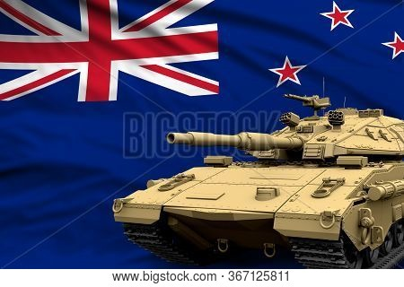 Heavy Tank With Fictional Design On New Zealand Flag Background - Modern Tank Army Forces Concept, M