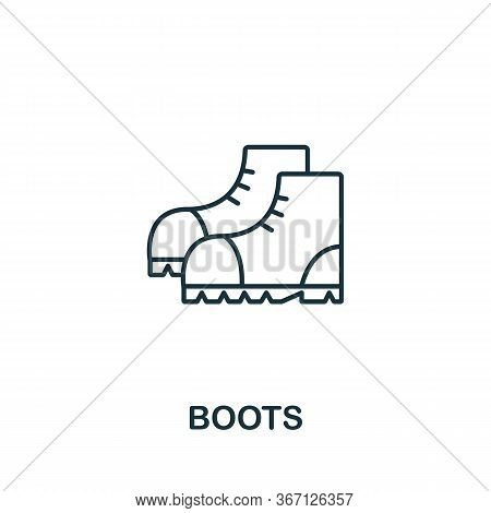 Boots Icon From Work Safety Collection. Simple Line Element Boots Symbol For Templates, Web Design A