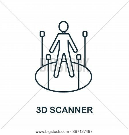 3d Scanner Icon From 3d Printing Collection. Simple Line 3d Scanner Icon For Templates, Web Design A
