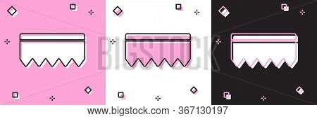 Set Sponge With Bubbles Icon Isolated On Pink And White, Black Background. Wisp Of Bast For Washing