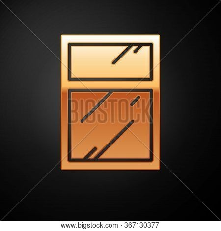 Gold Cleaning Service For Windows Icon Isolated On Black Background. Squeegee, Scraper, Wiper. Vecto