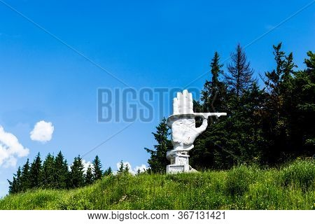 Bucovina, Romania - June 20, 2019: The Monument Of The Road Workers Built By The Communist Regime, D