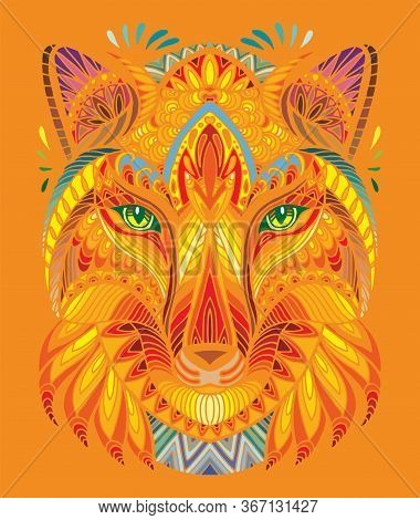 Vector Decorative Doodle Ornamental Head Of Fox. Abstract Vector Colorful Illustration Of Fox Head I