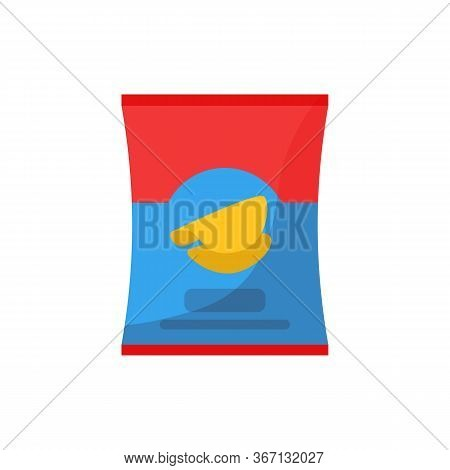 Red And Blue Chips Pack Illustration. Crunchy, Package, Packet. Food Concept. Illustration Can Be Us