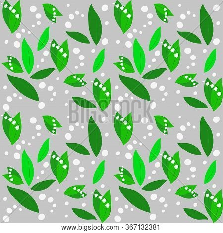 Romantic Pattern Of Lilies Of The Valley In The Forest. Leaves Of Different Shades Of Green And Whit