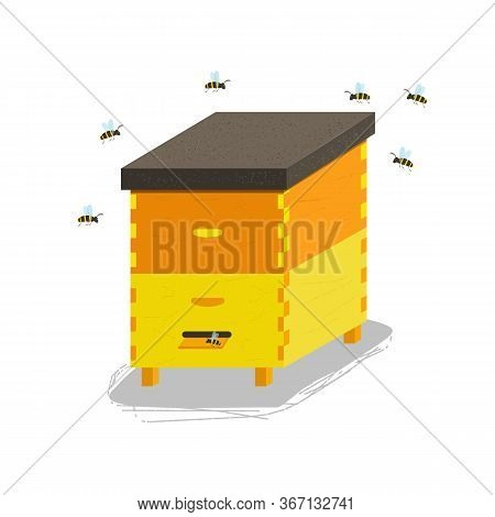 Wood Hive And Honey Bees. Beehive Icon