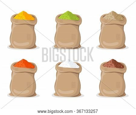 Indian Powder In Sack. Turmeric, And Ginger