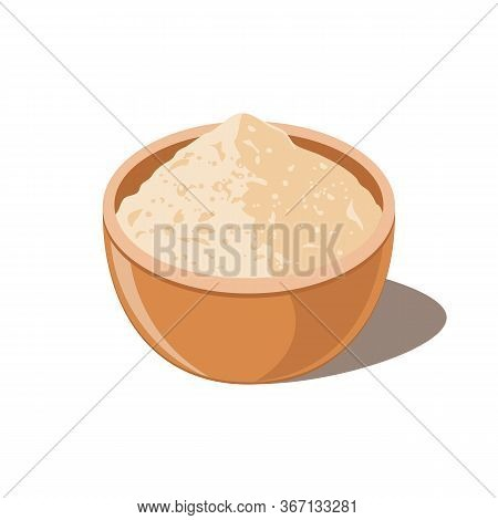 Bowl With Soy Powder Isolated. Soy Flour.