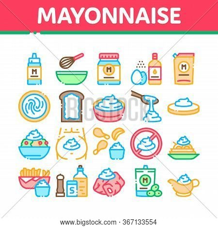 Mayonnaise Sauce Collection Icons Set Vector. Mayonnaise Bottle And Preparing In Bowl With Mixer, Fr