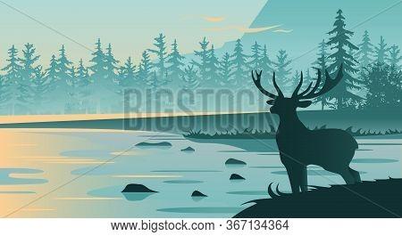 Flat Vector Mountain Landscape, Sunset, River, Deer Silhouette.