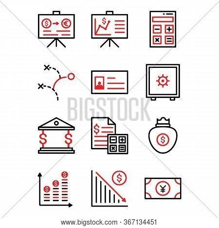 Office Business Icon Set Include ,presentation,graph,graph.calculator,calculation,finance,plan,strat