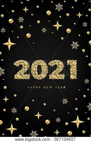 Happy New Year 2021 Design Concept With Numbers Of Golden Bead, Star, Snowflake On Black. Gold Metal