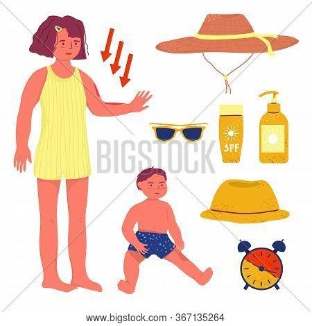 Kids Sun Protection Vector Flat Illustration. Spf Cream And Protective Stuffs For Skin. Kid Sun Crea