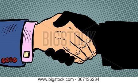 Handshake Deal Business Agreement. Pop Art Retro Vector Illustration Kitsch Vintage 50s 60s Style