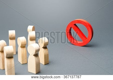 People Look At Red Prohibition Sign No. Restriction Of Rights And Freedoms, Legislative Prohibition