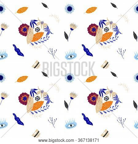 Floral Seamless Pattern Flat Vector Illustration. Cute Repeated Pattern For Print, T-shirt, Design E