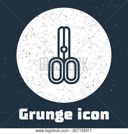 Grunge Line Scissors Hairdresser Icon Isolated On Grey Background. Hairdresser, Fashion Salon And Ba