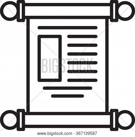 Black Line Decree, Paper, Parchment, Scroll Icon Icon Isolated On White Background. Chinese Scroll.