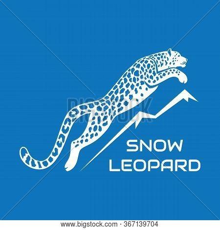 Leaping Snow Leopard Logo Sign Emblem Vector Illustration On Blue Background