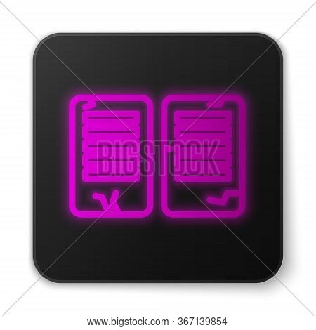 Glowing Neon Line The Commandments Icon Isolated On White Background. Gods Law Concept. Black Square