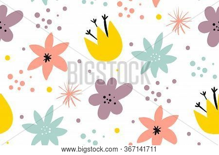 Cute Pattern In Small Flower. Small Colorful Flowers. White Background. Ditsy Floral Background. Cre